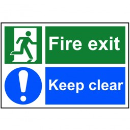 Scan Fire Exit Keep Clear Sign 300mm x 200mm