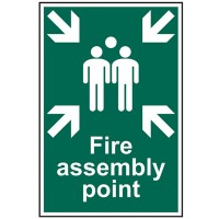 Scan Fire Assembly Point Safety Sign 300mm x 200mm