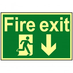 Scan Fire Exit Running Man Left Arrow Photoluminescent Sign 300 x 200mm