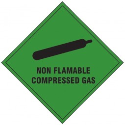 Scan Non Flammable Compressed Gas Hazard Sign 100mm x 100mm