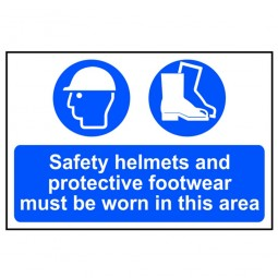 Scan Safety Helmets and Footwear Must Be Worn In This Area Site Sign 400mm x 600mm