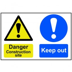 Scan Danger Construction Site Keep Out Safety Sign 600mm x 400mm
