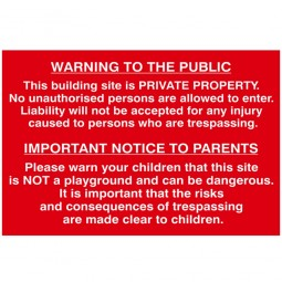 Scan Building Site Warning To Public and Parents Sign 600mm x 400mm