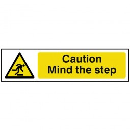 Scan Caution Mind The Step Safety Hazard Sign 200mm x 50mm