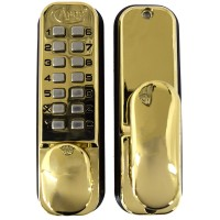 Asec Keyless Digital Door Lock with Holdback - Polished Brass