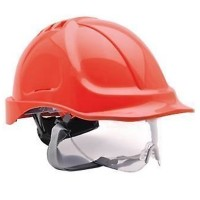 Portwest Safety Hard Hat Self-Sizing Wheel Retractable Visor Red