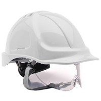 Portwest Safety Hard Hat Self-Sizing Wheel Retractable Visor White