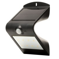 Luceco PIR Wall Light Outdoor Solar Powered Guardian IP44 Black
