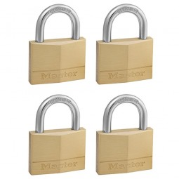 Master Lock Solid Brass Padlock 50mm - 4 Pack