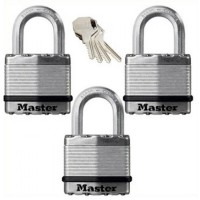 Master Lock Excell Laminated Steel Padlock 45mm Long Shackle - 3 Pack