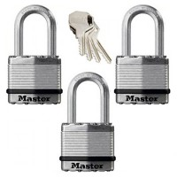 Master Lock Excell Laminated Steel Padlock 50mm Long Shackle - 3 Pack