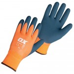 Ox Tools Waterproof Thermal Latex Safety Work Gloves  Size 9 Large
