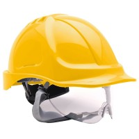Portwest Safety Hard Hat Self-Sizing Wheel Retractable Visor Yellow