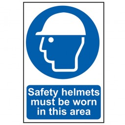 Scan Safety Helmets Must Be Worn Site Sign 200mm x 300mm