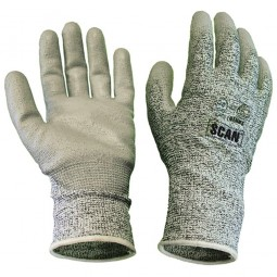 Scan Cut and Puncture Resistant Gloves Grey PU Coated