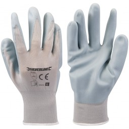 Silverline Foam Nylon Nitrile Gloves - Large