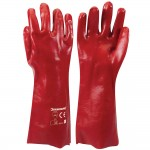 Silverline Red PVC Gauntlet Gloves 400mm / 16in - Large
