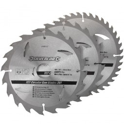 Silverline Circular Saw Blades TCT 180mm - 3 Pack