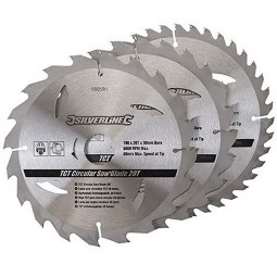 Silverline Circular Saw Blades TCT 190mm - 3 Pack