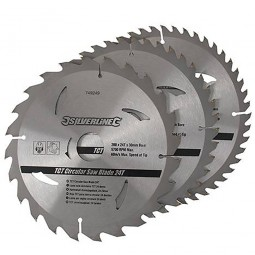 Silverline Circular Saw Blades TCT 200mm - 3 Pack