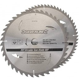 Silverline Circular Saw Blades TCT 300mm - 2 Pack