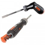 Bahco 808050P Ratcheting Pistol Grip Screwdriver Slotted PH PZ Bits