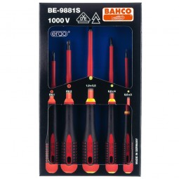 Bahco BE9882S VDE Insulated Slotted and Pozi Screwdriver Set - 5pc