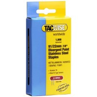 Tacwise Type 91 Series Staples 22mm Divergent Point Stainless Steel - 1000 Pack